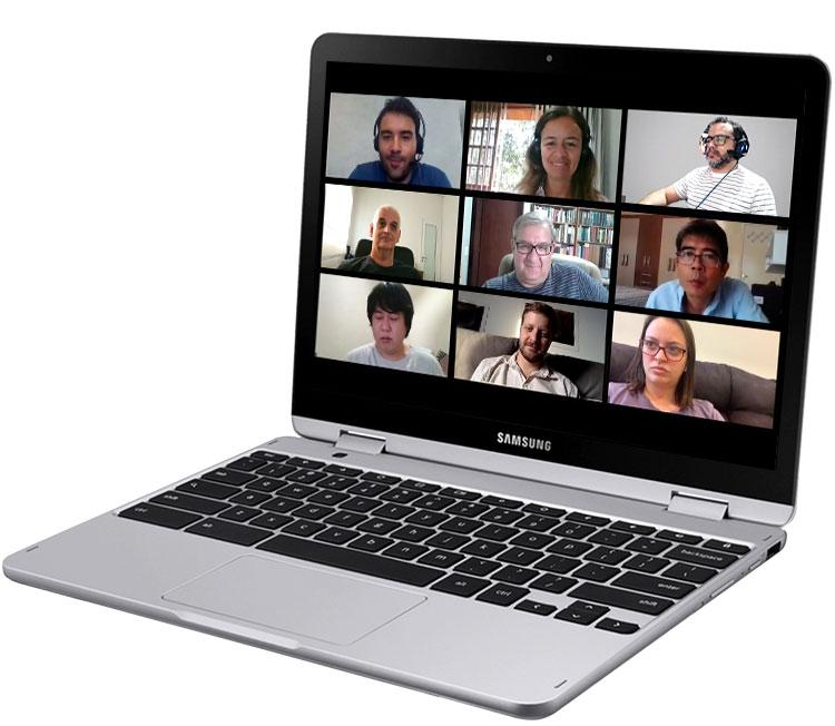 Chromebook showing video conference